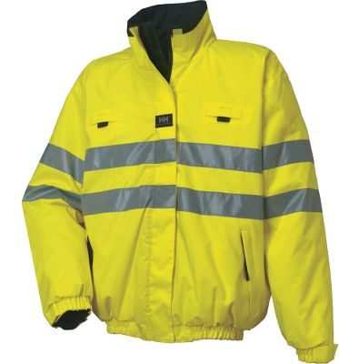 Reversible, two-sided protection from an industry-leading provider of waterproof workwear. Wind- and water-resistant polyester shell boasts high-visibility 3M reflective tape, while the reverse side is durable, 100% nylon oxford. 60 grams of light insulation delivers extra warmth for cold-weather conditions. Storm flap with zippered and Velcro closure matched with Velcro closures at the sleeves block out wind and rain. Elastic adjustment at hem provides the perfect fit. Two front handwarmer pockets with zipper closures. Imported. Sizes: XS-4XL. Colors: Orange, Yellow. - $124.00