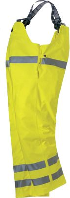 Entertainment The extreme weather protection, flame retardancy and 24-hour visibility of these bibs highlight a few of the reasons workers trust Helly Hansen apparel for performance and safety on the job. It meets ANSI standards for high-visibility safety and protection from blood-borne pathogens, and EN standards for 24-hour visibility, extreme weather protection and protection against heat and flame. Made of waterproof J-series PVC with high-visibility 3M Scotchlite reflective stripes at waist and lower legs. Reversible fit for extended wear. Hem folded twice with double topstitch for long-wearing durability. High bib with adjustable elastic suspenders. Interior snap adjustment. Imported.Sizes: XS-4XL.Colors: Yellow, Orange. - $120.00