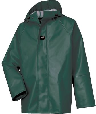 Entertainment Helly Hansens Mens Nusfjord Jacket with Cuffs boasts a heavy-duty, PVC-coated blend of 80/20 cotton/polyester for extreme weather-resistant performance. Shell is oil-, chemical-, cold- and mildew-resistant. Double storm flap with snap closure, drawcord-adjustable hood and neoprene cuffs seal out wind and rain. Imported. Sizes: XS-4XL. Colors: Dark Green, Dark Orange, Ochre. Size: Medium. Color: Dark Green. Gender: Male. Age Group: Adult. Material: Polyester. Type: Jackets. - $53.88