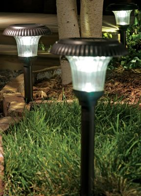 Camp and Hike Light up your walkways with these maintenance-free, natural white LED solar lights. Rechargeable lithium battery has an automatic six-hour cutoff time. Shadow glass lens. Stainless steel construction. Aluminum ground stake. Imported.Available: Per each. Type: Solar Lights. Size 1 Pc. - $14.88