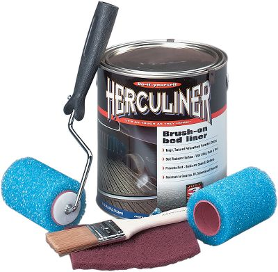 Surf Herculiner is a convenient and cost effective alternative to standard plastic or commercial sprayed liners. This durable polyurethane compound can be easily rolled onto nearly any surface, even scuffed, scarred and rusty pickup beds. Preparation is easy just prepare the bed with a medium-strength, slow-drying solvent, then sand or scuff the surface before applying a coat of Herculiner. Comes pre-mixed so you don't have to worry about getting the proper mix or consistency.Bed Brush-On Kit comes with everything you need to apply coating. Kit will cover one 6-ft. truck bed. Color: Sand. Type: Bed Protection. - $99.99
