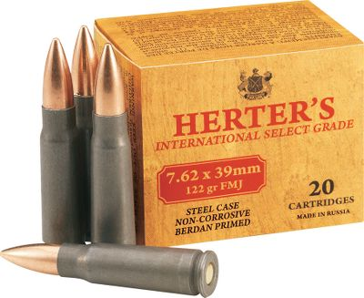 Hunting We scoured the world looking for the perfect combination of quality ammo at low prices and found it! This great-shooting ammo is Russian-made by a firm with over 125 years of experience. Sure-cycling polymer-coated steel cases. Noncorrosive. 122-grain FMJ bullets. 20 rounds per box. Bullet Weight: 122 Grain. Number of Rounds: Per 20. Type: Centerfire Rifle Ammunition. Caliber: 7.62 x 39. Bullet Type: HP. Cal/Gaug 7.62x39 122gr Hp/20. - $5.99