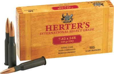 Hunting Herters ammunition is right on target for performance, reliability and low prices. Loaded by Russias premier ammunition maker to precise C.I.P. standards, all Herters ammunition is noncorrosive and has smooth-cycling, polymer-coated steel cases. Imported. Per 500. Bullet Weight: 148 Grain. Type: Centerfire Rifle. Caliber: 7.62 x 54R. Bullet Type: FMJ. Cal/Gaug 7.62x54r 148gr/500. - $314.99