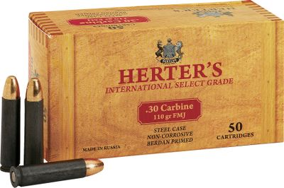 Hunting Herters ammunition is right on target for performance, reliability and low prices. Loaded by Russias premier ammunition maker to precise C.I.P. standards, all Herters ammunition is noncorrosive and has smooth-cycling, polymer-coated steel cases. 110-grain FMJ bullets. 50 rounds per box. Imported. - $18.99