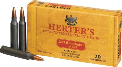 Hunting Weve teamed up with a premier Russian ammunition manufacturer to bring you this winning combination of high-quality, low-priced noncorrosive ammo. Polymer-coated steel cases cycle smoothly. 20 rounds per box. Bullet Weight: 62 Grain. Type: Centerfire Rifle. Caliber: .223 Remington. Bullet Type: FMJ. Cal/Gaug .223 Rem 62gr Fmj/20. - $5.99