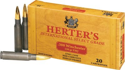 Hunting Herters ammunition is right on target for performance, reliability and low prices. Loaded by Russias premier ammunition maker to precise C.I.P. standards, all Herters ammunition is noncorrosive and has smooth-cycling, polymer-coated steel cases. 150-grain FMJ bullets. 20 rounds per box. Imported. Bullet Weight: 150 Grain. Type: Centerfire Rifle Ammunition. Caliber: .308 Winchester. Bullet Type: FMJ. Cal/Gaug 308win 150gr Fmj/20. - $6.99