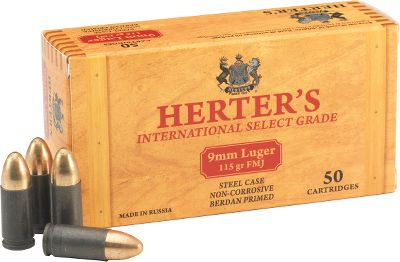 Our globe-traveling search for quality, affordable ammunition led us to Herter's. This accurate, dependable Russian-made ammo is the result of over 125 years of manufacturing experience. Polymer-coated steel cases ensure smooth feeding. 115-grain FMJ bullets. - $114.99