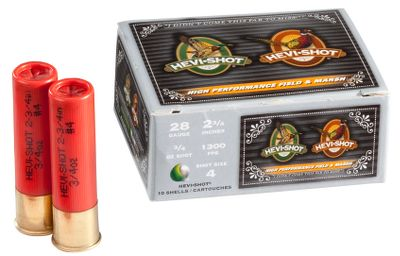 Hunting Finally hard-hitting nontoxic shotgun shells that allow you to use your 16-gauge, 28-gauge or .410-bore shotgun for waterfowl and in areas where lead shot is prohibited. And because these shells are made with high-density HEVI-Shot, youll be able to make shots you couldnt before with lower-density steel shells. Enjoy the same excellent patterning and devastating performance on fowl and small game that 12- and 20-gauge shooters have experienced from HEVI-Shot for years. Per 10. Made in USA. - $38.99