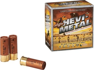 Hunting Uses the same layering technique of dual-density pellets as Hevi-Metal, combined with premium steel and Hevi-Shot for all the power-packing punch you need. Hevi-Shot steel no. 4 shot matches the knockdown power and the effective range of lead no. 5 with a better pellet count. Hevi-Metal shell has 14% more pellets than a steel shotshell with the same effective range. Significantly higher pellet counts fill in any possible holes in the pattern. Layering ensures the high-density pellets outrun the steel for maximum patterning consistency. 25 shells per box. Type: Steel. - $24.99