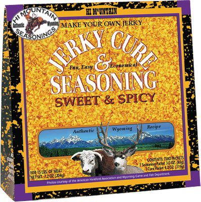 Make delicious, healthy jerky economically in your own oven, smoker or dehydrator. Hi Mountains cures came from the American Old West. Each package contains enough cure and seasoning to make sumptuous jerky out of 15 lbs. of beef or wild game, but you can make as little as 1 lb. at a time. Comes with detailed, easy-to-follow instructions. Available: Original, Pepper, Mesquite, Cajun, Hickory, Bourbon Barbecue, Cracked Pepper and Garlic, Inferno, Sweet Spicy, Jalepeno, Hunters Blend, Mandarin Teriyaki. Color: Bourbon. Type: Brines & Cures. - $6.79