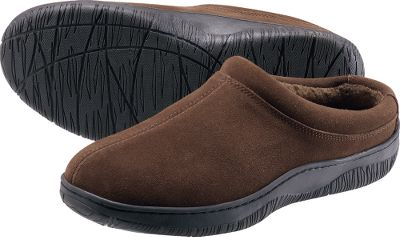 Entertainment L.B. Evans is famous for its quality, value and more than 200-year heritage as Americas oldest operating slipper company. These slippers boast luxuriously soft suede uppers and durable rubber outsoles for indoor and outdoor use. Sherpa-fleece linings wick moisture and cradle your feet in warmth. Hooded back for easy on/off. Imported. Mens whole sizes: 8-13 medium width. Color: Brown. - $34.88