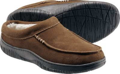 Entertainment L.B. Evans is famous for its quality, value and more than 200-year heritage as Americas oldest operating slipper company. These slippers boast luxuriously soft suede uppers and durable rubber outsoles for indoor and outdoor use. Sherpa-fleece linings wick moisture and cradle your feet in warmth. Hooded back for easy on and off. Imported. Mens whole sizes: 8-13 medium width. Color: Chestnut. - $19.88