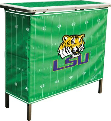 Camp and Hike The ultimate fold-and-go table for tailgating, barbecuing and the great outdoors. Durable surface top and skirt represent a football field with your favorite team displayed. Foldable design with convenient grab handle. Made of sturdy, light, water-resistant aluminum. Includes convenient carry bag for easy storage and transport. Assembled dimensions: 39L x 15W x 35-1/2H. Available: Alabama, Arizona State, Auburn, Florida, Florida State, Georgia, Indiana, Iowa, Kentucky, LSU. Miami, Michigan, Michigan State, Nebraska, North Carolina, North Carolina State, Notre Dame, Ohio State, Oklahoma, Purdue, South Carolina, Tennessee, Texas, Texas AM, Virginia Tech, West Virgina and Wisconsin. - $119.99
