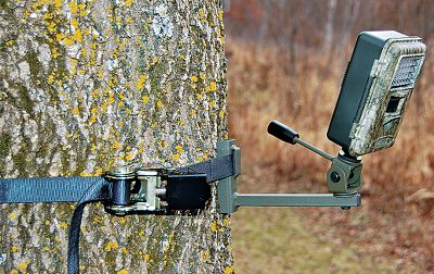 Hunting Secures to trees in seconds with a rachet strap, providing rock-solid attachment while eliminating screw-in damage. It accepts any trail camera with a 1/4 x 20 thread insert and delivers 120 of tilt and 360 of rotation. Locking knob holds desired position. Type: Trail Camera Accessories. - $12.88