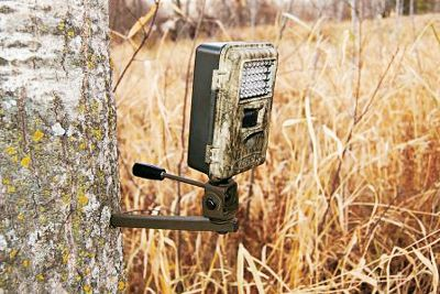Hunting Simple and compact, this mount will support any trail camera with a 1/4 x 20 thread insert. Screw the mount into the desired tree and thread the camera on. It offers up to 120 of tilt and 360 of rotation. Tighten the camera locking knob to hold desired position. - $12.99