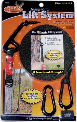 Hunting The heavy-duty, screw-in hook and 25-ft., tangle-free webbing strap will safely hoist and hang your valuable hunting equipment while treestand hunting. Two included carabiners secure to the fully adjustable webbing to provide a hands-free storage system that works in any situation. Ideal for use with guns, bows, packs, video cameras and other hunting accessories. Imported. Type: Pull-Up Ropes. - $9.99