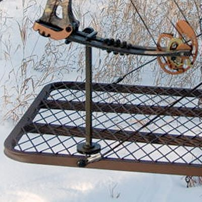 Hunting Universally mounts to all treestand platforms, placing your bow in a tilted, elevated position for convenient access. Quick, easy installation using one stainless steel bolt. Fork rotates 360 to hold any bow and is vinyl-coated to protect finish. Color: Stainless Steel. - $12.99