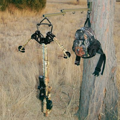 Hunting A folding-arm hanger with weather-resistant PVC coating. Hanger rotates 360 for perfect placement up to 22 from the tree. Includes accessory hanger with carabiner and three screw brackets. Maximum weight capacity: 10 lbs. - $24.99