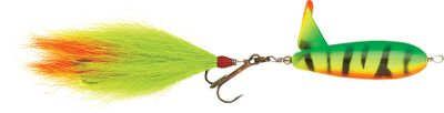 "Fishing The best-selling surface lure in the Holcombe Tackle line. Features a bucktail trailer to attract large muskie. Hook up with a fish on one of the two 3/0 4X VMC hooks and you'll know you have a secure connection between yourself and the fish. Size: 8"" Colors: (021)Firetiger, (024)Baby Duck (not shown), (031)Black Orange, (116)Black Chartreuse, (277)Flame. - $19.99"