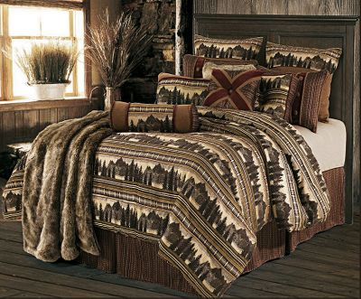 Entertainment Woven in rich tones of caramel, brown and burgundy plaid, this bedding collection features beautiful silhouettes of bears, pinecones and geometric shapes. The repeated woven scenery is on a heavy, wool-like polyester fabric and is sure to complement any rustic decor. Each set includes a beautiful, matching woven bed skirt, two shams (twin includes one sham) and a decorative neck-roll pillow. Dry clean is recommended. 100% polyester fill. Imported. Comforter sizes: Twin (68 x 86), Full (80 x 90), Queen (90 x 92), King (102 x 92). Bed skirt sizes: Twin (75L x 39W x 16H), Full (75L x 54W x 18H), Queen (80L x 60W x 18H), King (80L x 78W x 18H). Sham sizes: Standard (20 x 28), King (20 x 34). Both have 3 trim. Neck-roll pillow: 8x 21. Sizes: Twin, Full, Queen, King. Size: TWIN. Color: Brown. Type: Bedding Sets. - $299.99