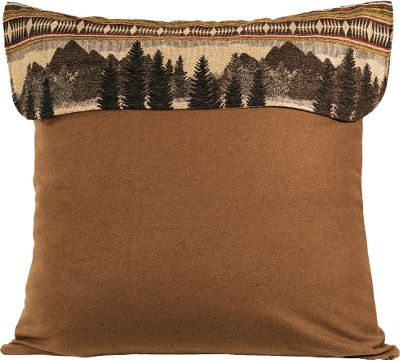 Entertainment Woven in rich tones of caramel with a beautiful mountain scene, this square pillow sham is crafted of a heavy, wool-like polyester fabric and is sure to complement any rustic dcor. 100% polyester fill. Dry-clean is recommended. Per each. Imported.Dimensions: 27 x 27. - $49.99