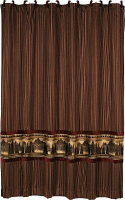 Entertainment Woven in rich tones of burgundy, caramel, brown and cream, this beautiful shower curtain features a majestic mountain and pine-tree scene inset. Includes a set of fabric-covered curtain rings. 100% polyester. Imported.Dimensions: 72 x 72. - $99.99