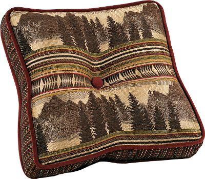 Entertainment Woven in rich tones of burgundy, caramel, browns and cream, these pillows are crafted of a heavy, wool-like polyester fabric and are sure to complement any rustic decor. 100% polyester fill. Dry clean is recommended. Per each. Imported. Available: Boxed Pillow: Majestic mountain scenery with a center button. Dimensions: 18 x 18. X Design Pillow: Beautiful woven front with a burgundy X, accented by a center button. Dimensions: 18 x 18. Long Pillow: Rectangular-shaped pillow with same mountain scene as boxed pillow. Finished seams. Dimensions: 26 x 16. Size: X DESIGN PILLOW. Type: Pillows. - $44.99