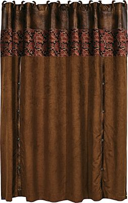 Entertainment Give your bathroom some charm with a rustic colorway of timeworn reds, greens, browns and tans. Microsuede shower curtain has a printed velvet header and concho details. Matches the Austin Bedding Collection. 100% polyester. Imported.Dimensions: 72H x 72W. - $99.99