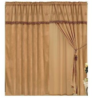 Entertainment Give your old windows new life with this great-looking drape/valance set. Set comes with: one 60 W x 84 L drape, one 18 valance, one tieback and one sheer panel. All pieces are 100% polyester. Shown per pair, Sold per each. Gender: Male. Age Group: Adult. - $49.99