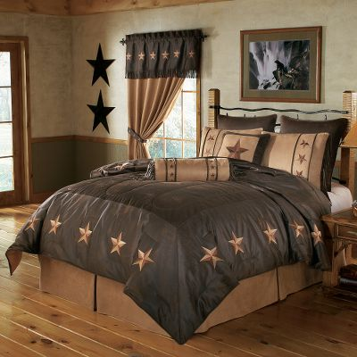 Entertainment Like the name that inspired them, these bedroom sets exude classic Texas appeal. The rich color schemes, embroidered stars and faux-leather details create an unmistakably rustic bedroom theme. Sleep under the stars every night and enjoy the comforters pleasingly soft polyester microfiber suede. Comforter has cotton backing and polyester fill. Bed skirt is constructed of 100% polyester faux leather. All other components have a microfiber suede/faux-leather back. Set includes: comforter, bed skirt, two standard shams (twin includes one), one pillow (19 x 19) and one neck roll (8 x 21). Dry-clean only. Imported. Sizes: Twin (68 x 88), Full (80 x 90), Queen (92 x 96), Super King (110 x 96). Colors: Tan, Brown. Size: TWIN. Color: Brown. Type: Bedding Sets. - $259.99