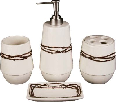 Entertainment Western-themed accessories accent any homes bathroom. Rustic, hand-painted barbwire designs.Includes: 4.5 toothbrush holder, 4.5 tumbler, 8 soap dispenser, 3 x 5 soap dish. - $39.99