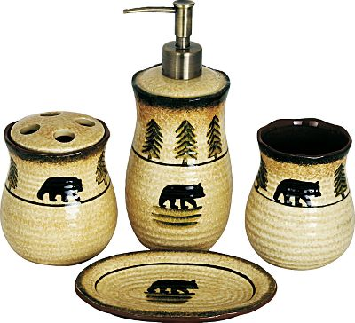Entertainment Add rustic charm to your bathroom with these hand-painted, wildlife-inspired accessories. Made of ceramic materials, all items are dishwasher-safe.Includes: 4.5 toothbrush holder, 4.5 tumbler, 8 soap dispenser, 3 x 5 soap dish. - $46.99