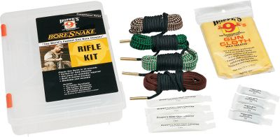 Hunting BoreSnakes provide up to 160 times the cleaning surface of standard cleaning patches, making gun cleaning faster and more efficient. Hoppes has developed cleaning kits that come with a legendary Hoppes tackle-box-style storage box. Available: Pistol Kit Includes BoreSnakes for .22-, .38-, .40- and .44/.45-caliber pistols, cleaning and lubricating fluids and a wax-treated gun cloth. Rifle Kit Includes BoreSnakes for .22-, .243-, .270- and .30-caliber rifles along with cleaning and lubricating fluids and a wax-treated gun cloth. Shotgun Kit Comes with BoreSnakes for 12-, 20-, 28-gauge and .410-bore shotguns, cleaning and lubricating fluids and a wax-treated gun cloth. Universal Kit Receive a 12-gauge BoreSnake, .22-caliber BoreSnake, bore light, BoreSnake zippered storage case, BoreSnake pull handle, cleaning and lubricating fluids, wax-treated gun cloth and a field bag capable of transporting or storing up to four BoreSnake Combo Kits. Type: Cleaning Kits. - $53.88