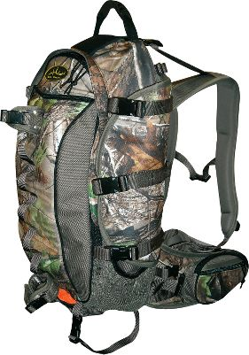 Hunting Internal frame conforms to body. Multipoint gear gripper system with five pads compresses loads. Strap system steadies pack. Gear buckles. Adjustable side-panel pouches. Adjustable suspension bars. Molded-foam back panel, belt and shoulder straps. Bungee-cord tie-downs. Orange pull-out safety wrap. Hydration compatible. 25 pockets. Made in USA. Capacity: 2,800 cu. in. Camo pattern: Realtree APG . - $109.88