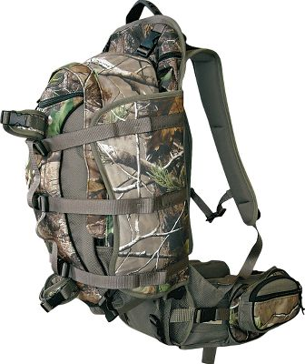 Hunting Lightweight aluminum frame holds loads high, side compression wings pack it close and a retractable shelf supports from below for maximum load capacity and comfort. Frame has nine separate gear compartments. Hydration compatible. Six gear pockets. Made in USA. Capacity: 2,000 cu. in. Camo pattern: Realtree APG. - $159.88