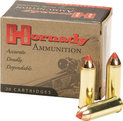Guns and Military Hornadys successful line of LEVERevolution ammo has been expanded to include these popular revolver/lever gun cartridges. The Flex Tip of the FTX bullet enhances bullet flight characteristics and opens up new application possibilities with supercharged performance for lever-action rifles chambered in .357 magnum, .44 magnum and .45 Long Colt with tubular magazines. Muzzle velocity is greatly enhanced, resulting in longer effective range, flatter trajectory and devastating terminal effect with reliable expansion. Made in USA. Type: Centerfire Handgun. - $22.99