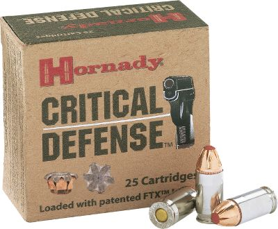 Guns and Military Hornadys Critical Defense handgun ammunition delivers superior performance when it matters most. A soft polymer insert prevents the hollow-point cavity from being clogged with fibers and other materials, which can inhibit reliable bullet expansion. Critical Defense also utilizes premium low-flash propellants to deliver maximum velocity and knock-down energy. For reliable and consistent performance, Critical Defense delivers every time, giving you the confidence in your handgun ammunition that you have come to expect from Hornady. - $17.84