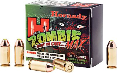 Fitness Lock n load with Zombie Max. From Hornadys Z-MAX Zombie green-tip bullets to the zombie-apocalypse survival tips on the box, this ammo is sure to start fun conversations. Even better, its top-quality Hornady components ensure accuracy and smooth cycling through semiautomatic firearms. Type: Centerfire Handgun Ammunition. - $20.99