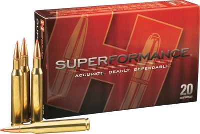 Hunting Strike faster, farther and harder with the velocity increase this ammo delivers. By squeezing up to an extra 200 fps from every Superformance caliber with innovative propellants, Hornady flattens trajectory, reduces wind drift and delivers more smack-down energy on target all with no increase in recoil or muzzleblast. Super-Shock Tip (SST) teams with a secant ogive profile to create a streamlined bullet that slices through the air to deliver amazing accuracy. An Interlock ring ensures the bullets core and match-grade jacket hold together for outstanding controlled expansion. Supercharge your rifles performance while enjoying the superior accuracy you expect from Hornady. Per 20. Type: Centerfire Rifle Ammunition. - $29.99