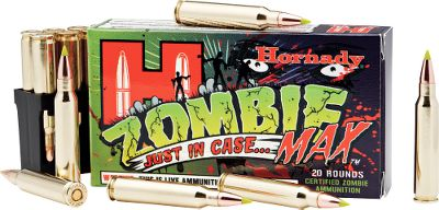 Hunting Lock n load with Zombie Max. From Hornadys Z-MAX Zombie green-tip bullets to the zombie-apocalypse survival tips on the box, this ammo is sure to start fun conversations. Even better, its top-quality Hornady components ensure accuracy and smooth cycling through semiautomatic firearms. Per 20. Type: Centerfire Rifle Ammunition. - $15.99