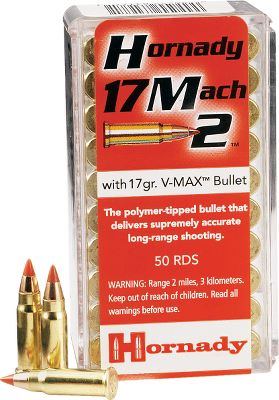 Get tack-driving accuracy with trajectory like a laser with Hornady .17 Mach 2 17 gr. VMax Ammo. These loads shoot almost 7 flatter at 150 yards, and are more than 800 fps faster out of the muzzle than high-velocity .22 LR ammunition. Ideal for target shooting and small-game. Per 500. Dry-Storage Box with each 500-round lot purchased. - $89.99