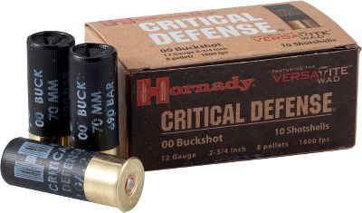 Guns and Military Defense situations demand fail-safe reliability. Hornady delivers with these shells specially loaded to ensure consistent functioning in semiautomatic and pump shotguns. Versatite wad technology ensures tight patterns without modification to your gun. The 12-gauge, 2-3/4 shells have an eight-pellet load of 00 buckshot that produces a 1,600 fps muzzle velocity. Per 10. - $12.99