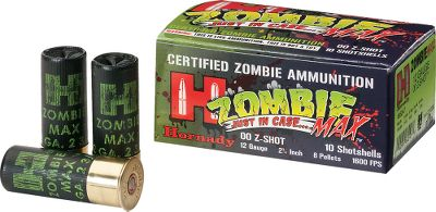 Fitness Lock n load with Zombie Max the only certified zombie ammunition. From Hornadys Zombie-Max-marked shotshells to the zombie-apocalypse survival tips on the box, this ammo is sure to start fun conversations. Even better, its top-quality Hornady components and Critical Defense pedigree deliver dependable accuracy and smooth-cycling performance. These 2-3/4, 12-ga. rounds each contain eight pellets of 00 buckshot. Per 10. - $10.88
