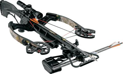 Hunting Amazingly compact Reverse Draw Technology and blazing 360-fps speeds make this crossbow one of the most sought after on the market. CNC-machined riser, cams and an ultralightweight aluminum barrel deliver the perfect blend of balance and accuracy. Advanced laminated limbs optimize speed, while integrated stumper arms reduce noise and vibration. Overmolded, interchangeable recoil pads for a custom length of pull. Rugged Viper X strings withstand harsh field conditions. Speed: up to 360 fps.Power stroke: 15-3/8. Draw weight: 160 lbs.Length: 35-1/4. Width: 17-1/2 relaxed. Weight: 8.1 lbs. Camo pattern: Realtree APG. Fury Package includes: crossbow, RDT cocking sled, 4x32 Mult-A-Range scope, Arachnid five-arrow quiver and three arrows (broadheads not included). - $899.99