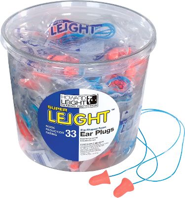 With a Noise Reduction Rating of 33db, Super Leight disposables offer the most hearing protection available in a pre-shaped foam earplug. The soft foam has a soil-resistant skin. Tub includes 50 pairs of plugs. Each pair is connected by a cord. Gender: Male. Age Group: Adult. - $29.99