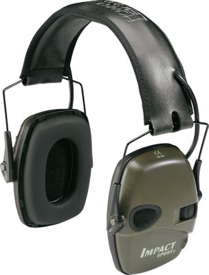 Entertainment With a noise reduction rating of 22db and an extremely low profile, this electronic earmuff is destined to become very popular with shooters. It amplifies low-level ambient sound such as conversation while instantly reducing potentially damaging sounds. Padded stereo muffs afford greater comfort to the user. This water-resistant protection has an outstanding 350-hour battery life, an easily accessed snap-on battery compartment cover, four-hour auto shut-off, integrated power and volume knobs, an external audio plug, and they fold up for compact storage. Earmuff in Mossy Oak is exclusive to Cabelas. Uses 2 AAA batteries (included). Color: Green. Color: Green. Gender: Male. Age Group: Adult. - $44.99