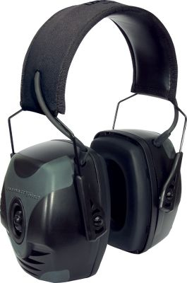 Entertainment Microphones amplify range commands and conversation in stereo up to four times, while Air Flow Control technology protects ears from sounds above 82db. Rugged earcups are made of durable rubber. Padded headband is adjustable for a comfortable fit. Single knob controls on/off and volume. Four-hour automatic shut-off. Includes audio jack and input cord for MP3 players, smartphones and scanner radios. Uses two AAA batteries (included). Gender: Male. Age Group: Adult. - $64.99