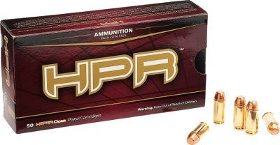 Guns and Military HPR stands for High Precision Range and this ammo lives up to its name. Its loaded with clean-burning powders and primers, are extremely accurate and are ideal for indoor shooting ranges. Every round is loaded to SAAMI specs and is hand inspected for utmost quality control. All components, including the packaging, is Made in USA. Per 50. Type: Centerfire Handgun Ammunition. - $16.99