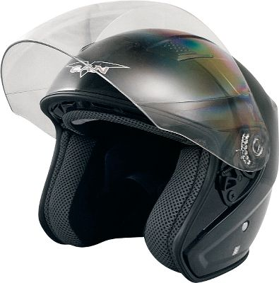 The flip-up, curved face shield of this 3/4-design helmet offers a wide view of the world and the traffic around you. The lightweight advanced ABS shell is DOT-approved, and has a removable, washable liner and a double D-ring chinstrap. An adjustable top vent and rear exhaust outlet let you control the heat inside your helmet on longer rides when you want to keep the face shield down. Scratch-resistant shield.Sizes: XS-XL.Color: Black. - $18.88