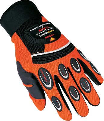 Motorsports Great for protecting your hands in off-road sports, these gloves are made of terylene fabric with a protective PVC coating. Theyre comfortable and durable, and boast water-resistant neoprene wrist sleeves. Imported.Available: Black (S, XL), Red (S-XL), Green (L, XL)(Not Shown), Orange (M-XL), Yellow (S-XL)(Not Shown). - $6.88